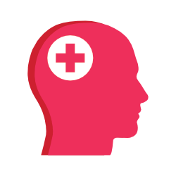 outline of person's head with medical icon