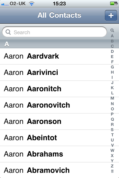... containing every number that the iPhone holds for that named contact