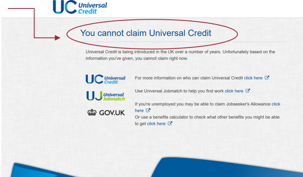 You cannot claim universal credit