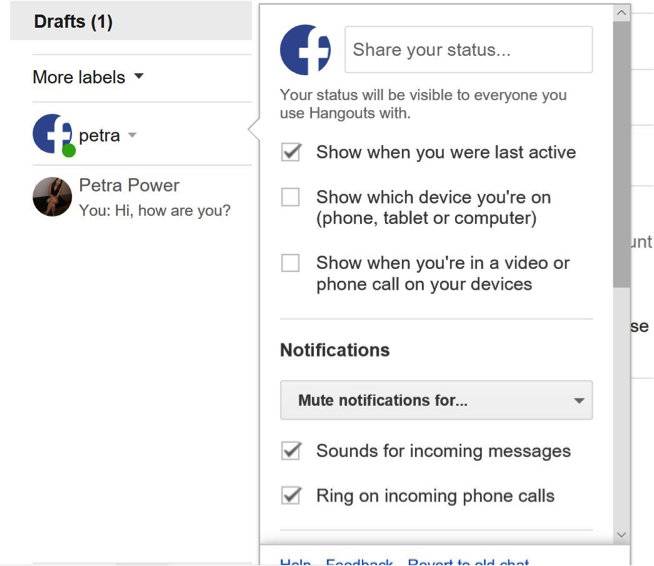 Customise settings Gmail chat