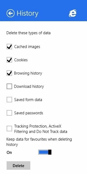 Choose Data to delete in IE11