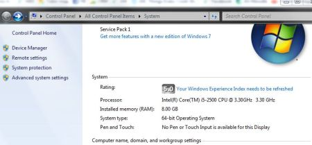 Windows 8 processor and RAM memory