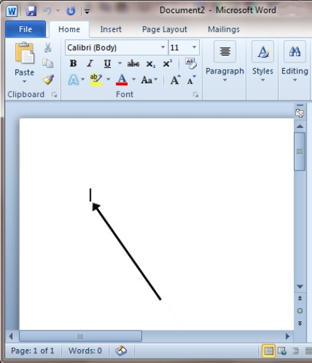 Microsoft word start typing
