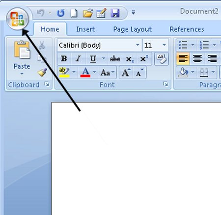 Microsoft word office button