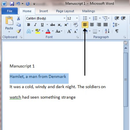 Microsoft Word left alignment