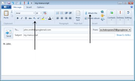 Windows live mail formatting