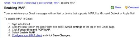 Enable settings via gmail