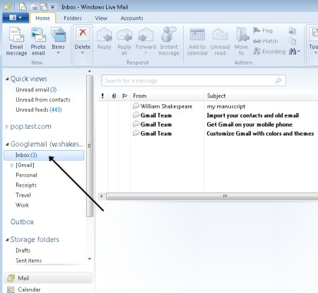 Windows live mail folders