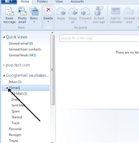 All folders in windows live mail