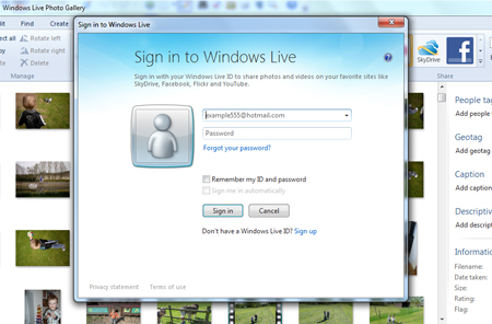 Sign in to windows live