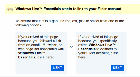 Ask windows live to connect to flickr account