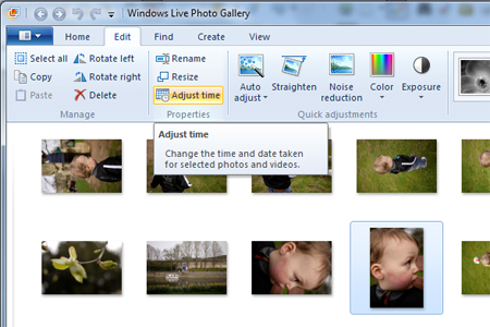 Windows live photo gallery adjust time