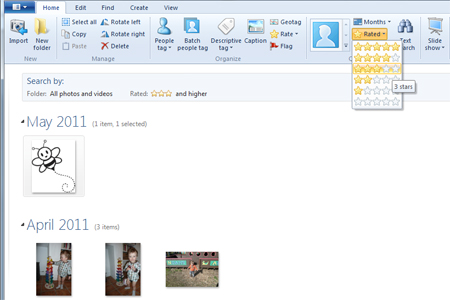 Windows live photo gallery star button