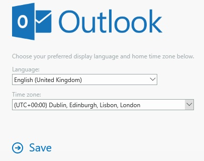 Outlook sign in page screenshot