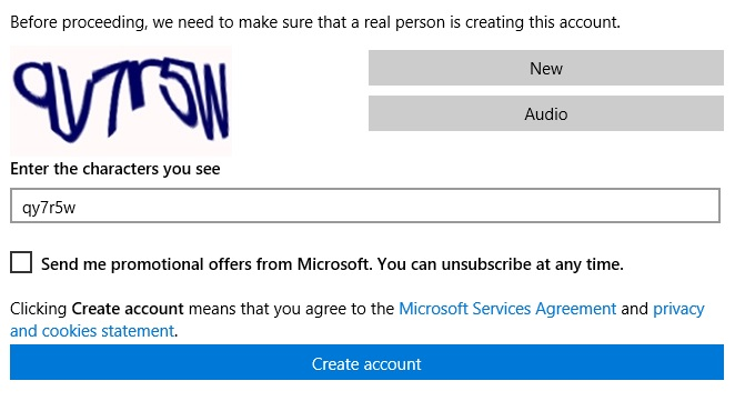 Outlook sign up security check screenshot