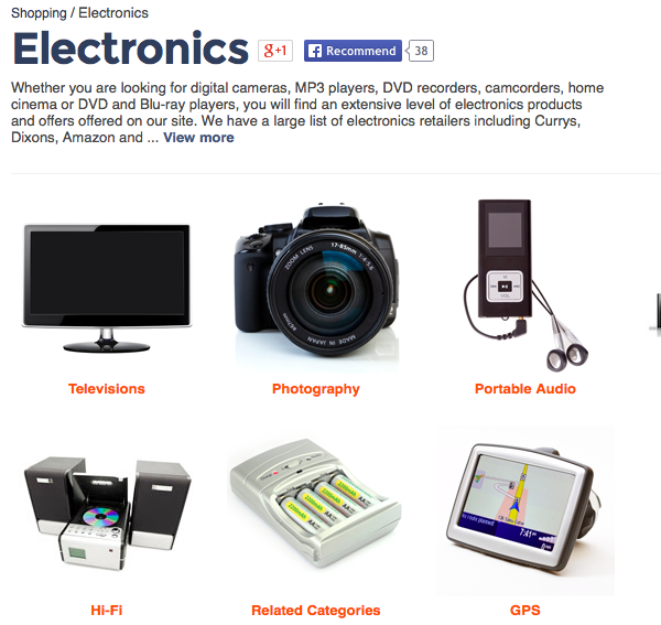 Electronics category on Kelkoo