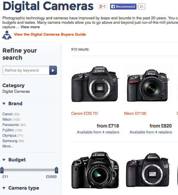 Digital Cameras category on Kelkoo