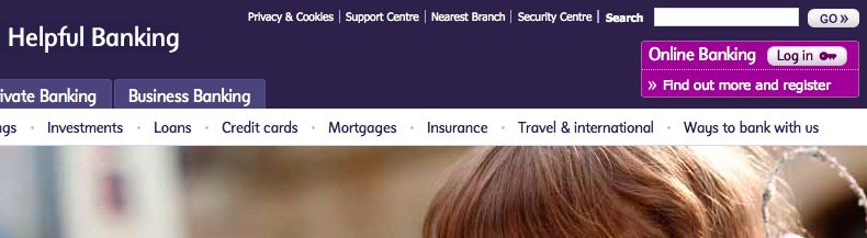 Register button on the NatWest homepage