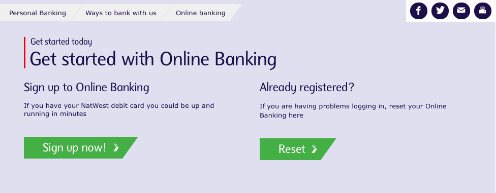 Signing up for NatWest internet banking