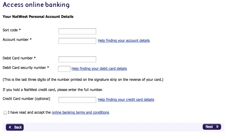 Adding details of a NatWest account