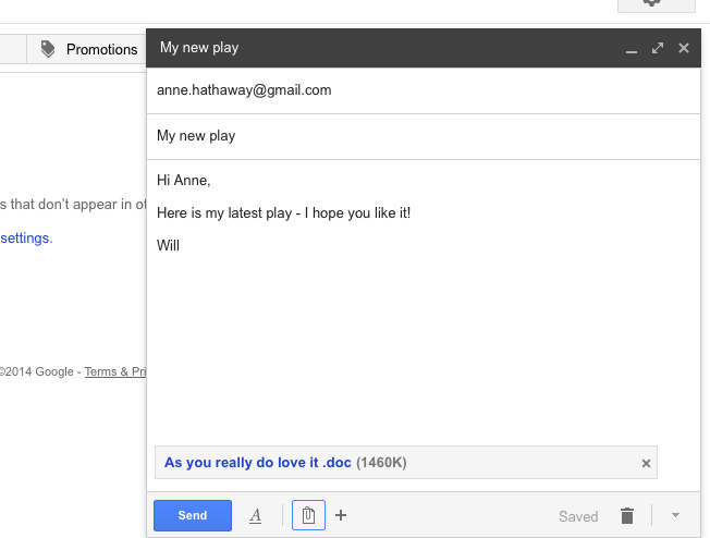 Attached document in Gmail compose window