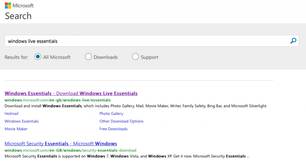 Windows Live Essentials search results on Microsoft.com