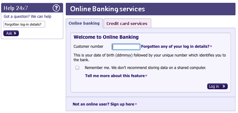 Online banking log in screen on Natwest website