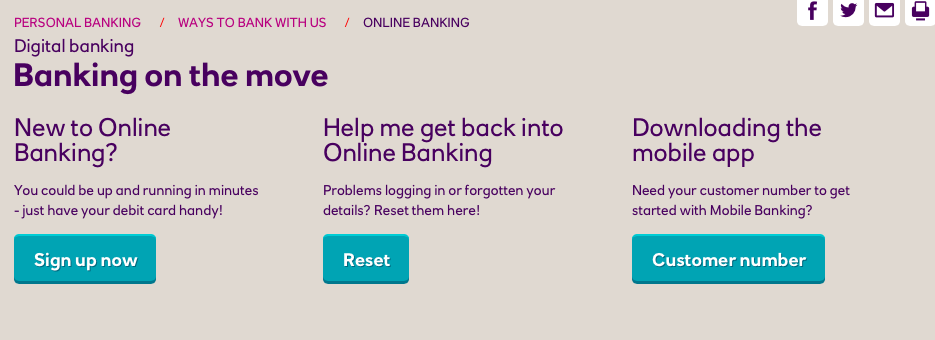 Banking on the move page on Natwest website