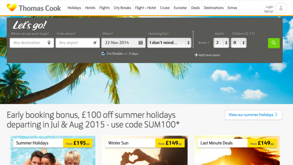Thomas Cook homepage