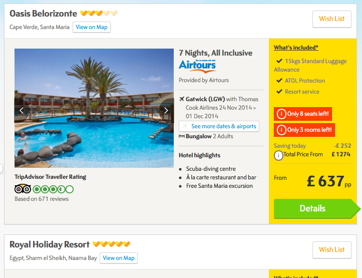 Search results on Thomas Cook website