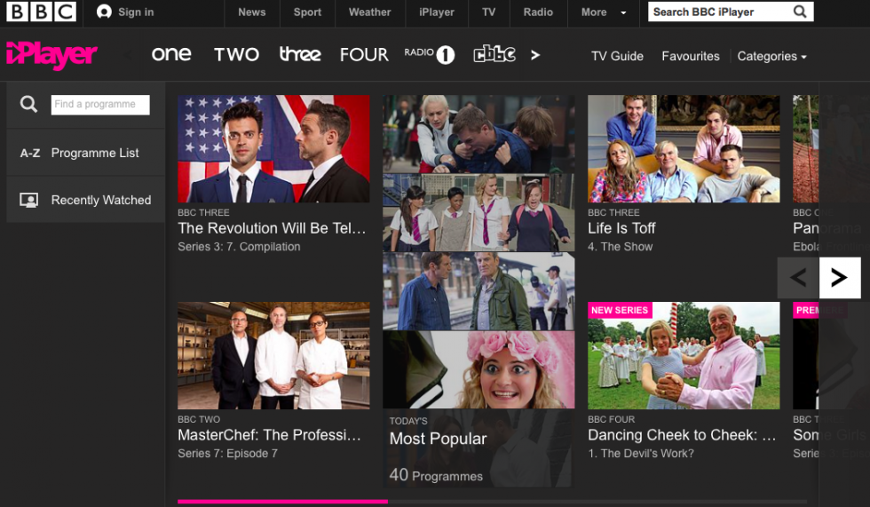 BBC iPlayer homepage