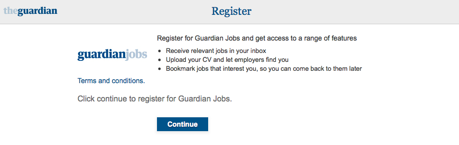 Guardian jobs registration page