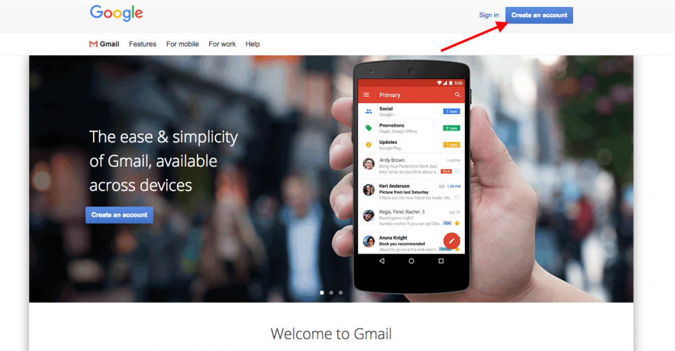 Gmail sign up page screenshot