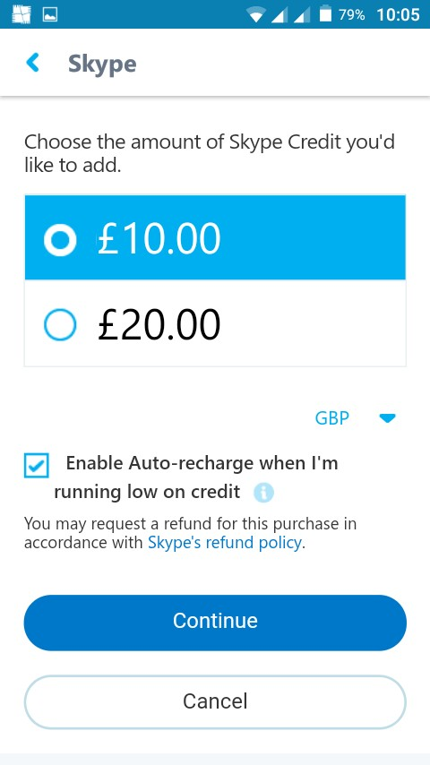 Choose the amount of Skype credit you want