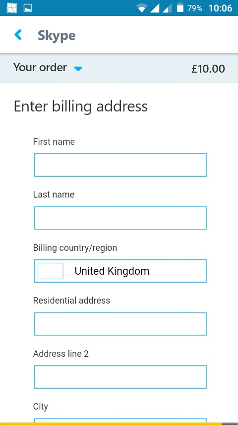 picture of billing information form on skype