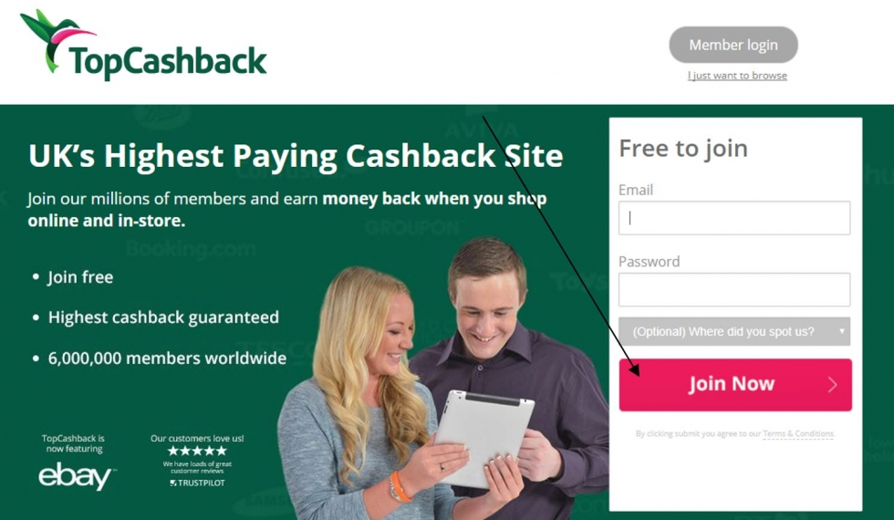 picture of the topcashback website