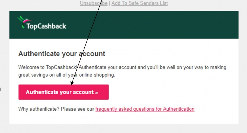 authenticate your topcashback account