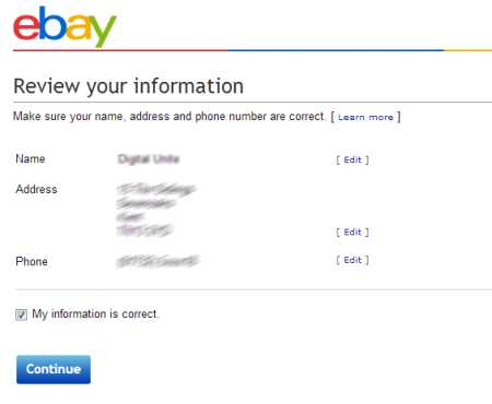 Ebay review your information