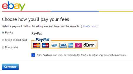 Ebay payment type