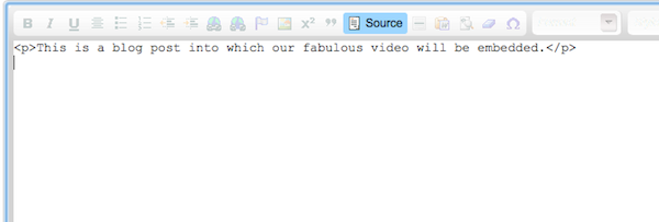 Image of the source code on a blog post being created