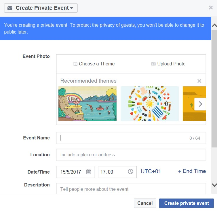 how to create an event on facebook page manager
