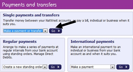 Make a payment or transfer option