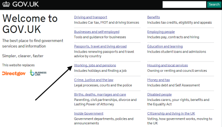site that replaces Directgov. Click on Working, jobs and pensions