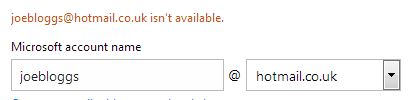 Microsoft account name box