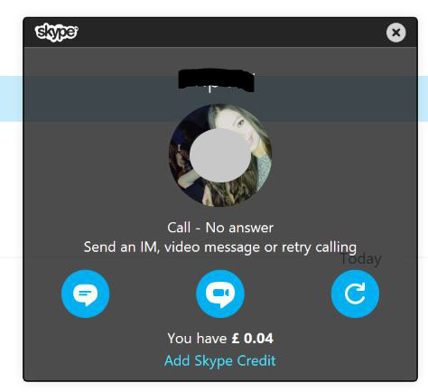 no answer notification on skype