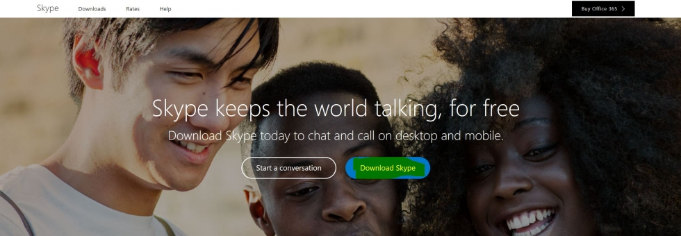 image of the skype homepage