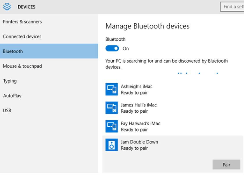 picture of bluetooth devices available to pair
