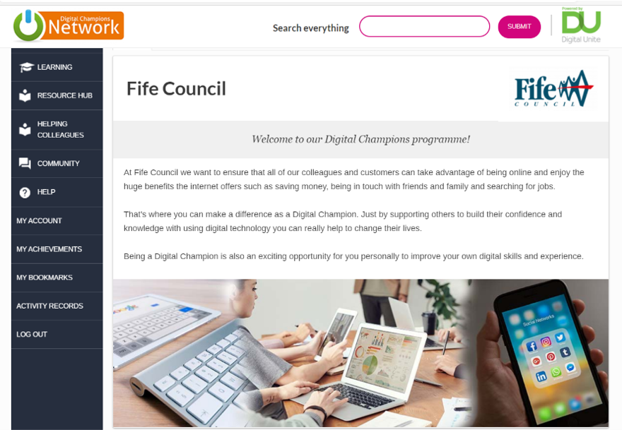 Image of Fife Council project page in the Digital Champions Network